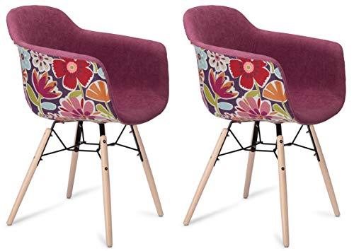 Furnhouse Furniture Sillas de Comedor, Beech, Rosa/Natural Legs, 59x57x80