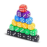 Omenluck 60 piezas de dados de acrílico estándar surtidos de colores redondos dados de esquina 6 lados juego juego juego de dados