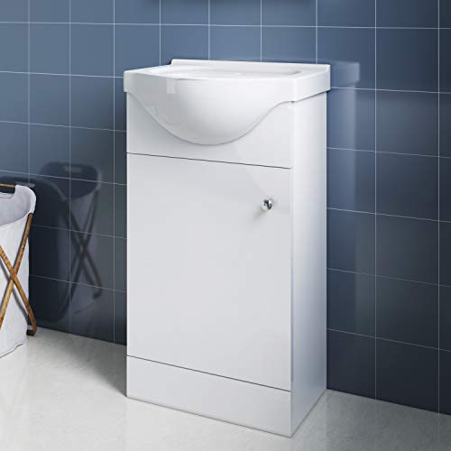 Elegant Badmöbel Waschbecken mit Unterschrank 2in1 Set Waschtisch bodenstehend Weiß Hochglanz 455mm