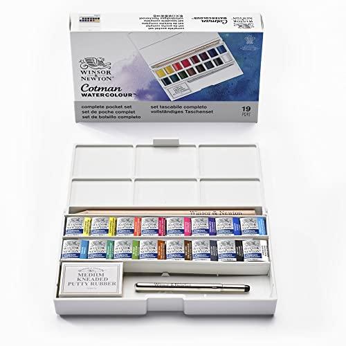 Oferta de Winsor & Newton acuarela Cotman - Caja de acuarela Sketcher Deluxe - set de 16 medio godets, colores surtidos