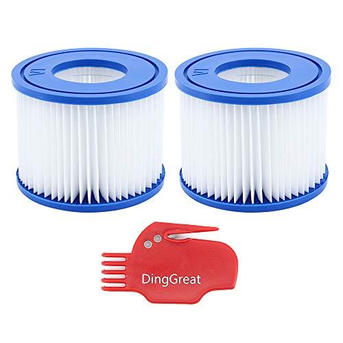 DingGreat 2Pcs Filterpatronen für Pool, Ersatz Filter für Bestway VI Filter, für Lay-Z-Spa Miami, Vegas, Monaco