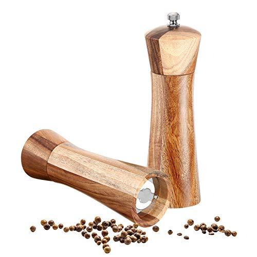 UIEEGPG Pfeffermühle Holz 2er Set, Salzmühle Gewürzmühle Holz mit Verstellbarem Keramikmahlwerk,Salz-Pfeffermühle aus Natürlich Akazienholz, H 17cm (Broun2)