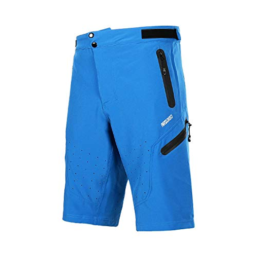 ARSUXEO Outdoor Sports Men's MTB Cycling Shorts Mountain Bike Shorts Water Resistant Blue Size Large