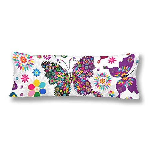 CiCiDi Seitenschläferkissen Kissen-Bezug 40x145 cm Frühlings weiße Blumenschmetterlings Blume bunt Atmungsaktives Kissenhüllen mit Reißverschluss Baumwollen und Polyester