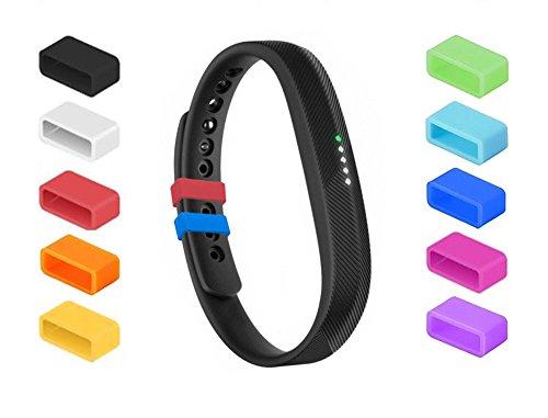 Chiusure in silicone per Fitbit Flex 2, fissano il cinturino e mettono fine al problema della caduta, assicurano il braccialetto con stile, indispensabili per Fitbit Flex 2 (SET di 10)