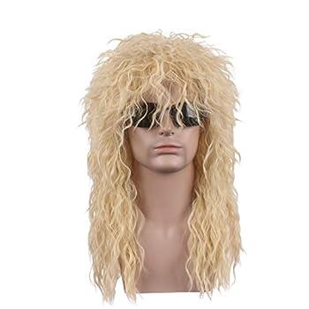 wildcos Long Blonde Curly hair Cosplay Wig for Men  Blonde