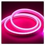 DZHT Tira De Luz De Neón Estrecha De 6 Mm 12 V LED SMD 2835 120 LED/M Tubo De Cuerda Flexible Impermeable, Utilizado Para Luces De Decoración Navideña De Bricolaje (Color : Rose red)