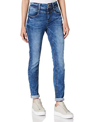 Street One Damen York Jeans, Indigo Blue Random Bleach, W30/L32