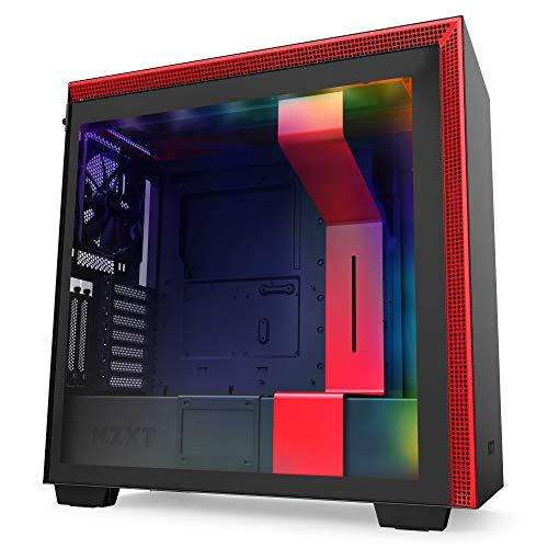 NZXT H710i - Caja PC Gaming Semitorre ATX - Panel frontal E/S Puerto USB de Tipo C - Montaje Vertical de la GPU - Iluminación RGB Integrada - Preparado Refrigeración Líquida - Rojo y Negro