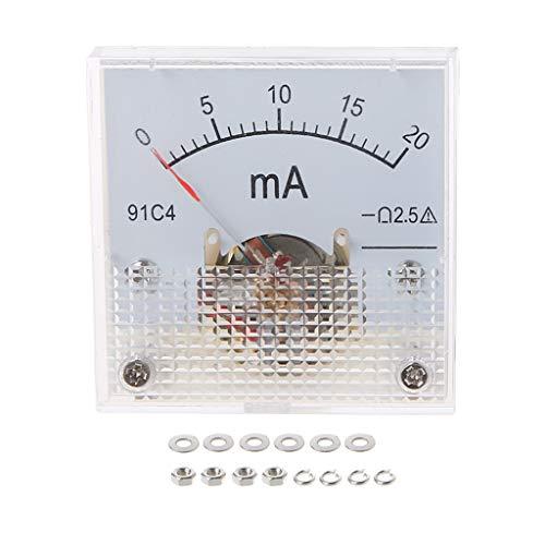 VAILANG 91C4 Amperemeter DC Analog Current Meter Panel Mechanischer Zeiger Typ 1/2/3/5/10/20/30/50/100/200/300 / 500mA A Mechanische Amperemeter 20mA