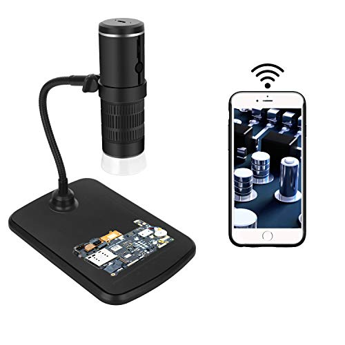 Wireless Digital Microscope,WiFi Microscope Camera 50x and 1000x Zoom 1080P with Professional Lift Stand,Pocket Microscope with 8 LED Light Compatible for iOS and Android