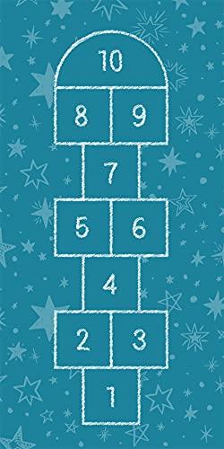 Deco&Fun - Alfombra vinílica Infantil Sambori Azul 70x140cm - Alfombra Infantil Lavable- Alfombras niño y niña - Alfombras PVC - Alfombras habitación Infantil