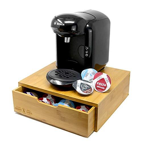 Maison & White Bambus 64 Tassimo Pod-Halter | Stilvoller Holzkapsel-Schubladen-Organizer | T-Disk Aufbewahrungs- und Holzkaffeemaschinenständer