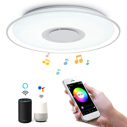 Luz de techo LED inteligente 36W 3000lm, aplicación o control de voz, ambiente regulable y de color, altavoz Bluetooth, compatible con Alexa y Google Home(2.4GHz,WiFi,RGB,3000K-6500K)