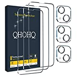 """QHOHQ 3 Pack Screen Protector for iPhone 13 6.1"""" with 3 Packs Camera Lens Protector, HD Full Screen Tempered Glass Film, 9H Hardness, Easy Install - Case Friendly"""