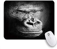 MISCERY マウスパッド 影で分離された物思いに沈んだゴリラ顔の黒と白の高コントラストの動物の肖像画 高級感 おしゃれ 防水 端ステッチ 耐久性が良い 滑らかな表面 滑り止めゴム底 24cmx20cm
