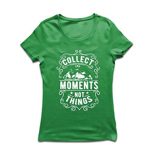 lepni.me Camiseta Mujer Citas Inspiradoras de Viajes, recolecta Momentos, no Cosas (Medium Verde