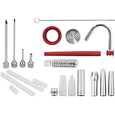 iSi Complete Accessory Set, Decorator Tips, Stainless Steel Tips, Injector Tips, Rapid Infusion Set and 40 Page Recipe Booklet with Refridgerator Freezer Thermometer, 16 Piece Set