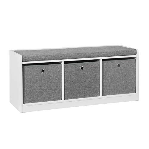 SoBuy FSR65-DG Sitzkommode Sitzbank mit Stauraum Schuhbank mit Sitzfläche Schuhtruhe mit 3 grauen Körben Weiß BHT ca.: 102x45x32cm