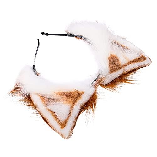 FRCOLOR Diadema de Piel Sinttica Animal Diadema de Zorro Gato Perro Diadema de Felpa Orejas de Gato Peludas Diadema para Mujeres Nias Nios Cosplay Disfraz Vestido de Fiesta Marrn