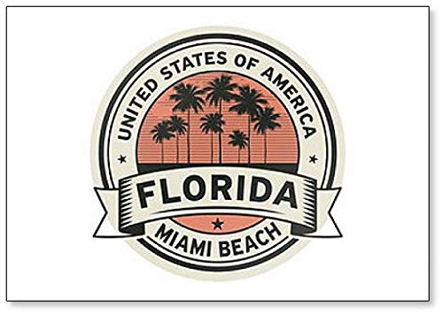 Stempel Illustration mit Namen von Florida, Miami Beach Kühlschrankmagnet