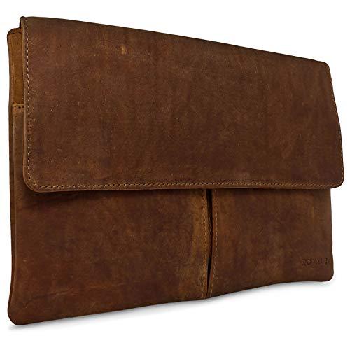 ROYALZ Ledertasche für Apple MacBook Air 11 Tasche Notebook (11,6 Zoll) Schutztasche Lederhülle Retro Vintage Look Leder, Farbe:Lava Braun