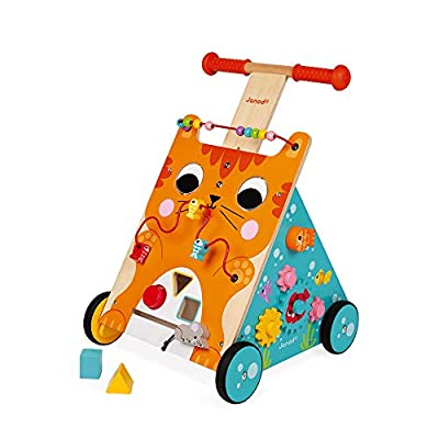 Janod Multi-Activities Adjustable Height Wooden Cat Baby Walker for Learning to Walk – Sit-to-Stand Push Toy with Accessories – Physical, Imaginative, and Developmental Play – Ages 12 Months-3 Years