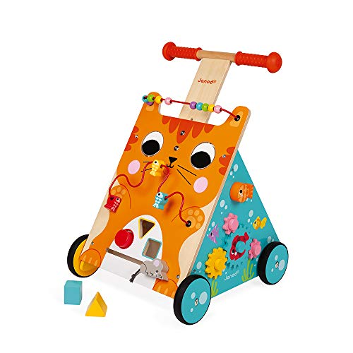 Review Of Janod Multi-Activities Adjustable Height Wooden Cat Baby Walker for Learning to Walk – S...