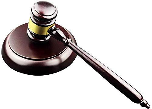 Toumett Martillo y Bloque Redondo Conjunto Martillo de Madera Hecho a Mano con Bloque de Madera para Juez Juez, Martillo de subasta #PMC