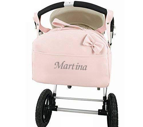Bolso Polipiel Carrito Bebe Personalizado con nombre bordado ROSA - Nombre bebé bordado - mibebestore