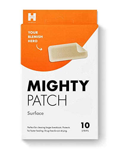 Mighty Patch Surface from Hero Cosmetics - Hydrocolloid Acne Pimple Patch for Large Zit Breakouts, Spot Treatment Stickers for Body, Cheek, Forehead, and Chin, Vegan and Cruelty Free (10 Count)