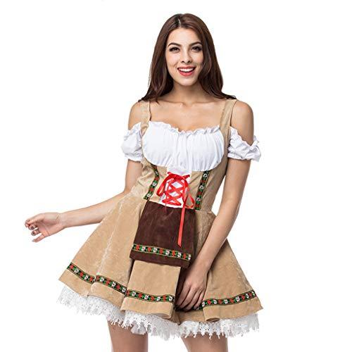 Battnot Oktoberfest Kostüm für Damen Bayerische Biermädchen Drindl Tavern Maid Kleid Grosse Grössen Kellnerin Dress Halloween, Frauen Cosplay Programm Bekleidung Festlich Festival Karneval Kleider