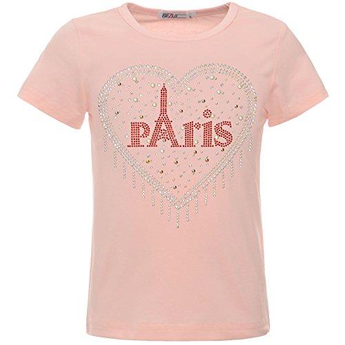BEZLIT Mädchen T-Shirt Glitzer Herz Paris Kunst-Perlen Oberteil 22550 Rosa 140