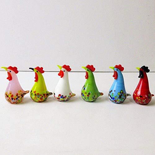 6 stks kleurrijke glazen haan kalkoen beeldjes pik kip miniatuur handgeblazen moderne miniaturen woondecoratie kerstcadeau, multi-gekleurde
