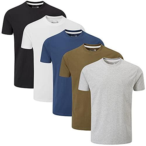 Charles Wilson 5er Packung Einfarbige T-Shirts mit R&halsausschnitt (Large, Mixed Essentials Type 23)