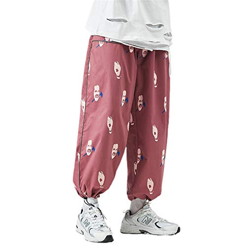 Pantalones Joggers de Primavera Pantalones Streetwear Cintura elástica Deporte Pantalones recortados Hip Hop Flow Harem Pantalones Tallas Grandes Red Asian XXL