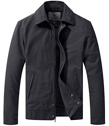 WenVen Men's Cotton Field Coat With Pockets Trucker Jacket Gray Xl