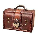 SHURROW Cofre del Tesoro de Madera Vintage Caja de baúl de Almacenamiento de Joyas Decorativas con Organizador de Joyas con Cerradura de Metal