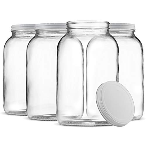 Paksh Novelty 1-Gallon Glass Jar Wide Mouth with Airtight Metal Lid - USDA Approved BPA-Free Dishwasher Safe Mason Jar for Fermenting, Kombucha, Kefir, Storing and Canning Uses, Clear.