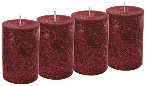 Unbekannt 4 Stumpenkerzen Kerzen Bordeaux Rot Weinrot 6cm Hochzeit Tischdeko Weihnachten Advent Kerze Deko