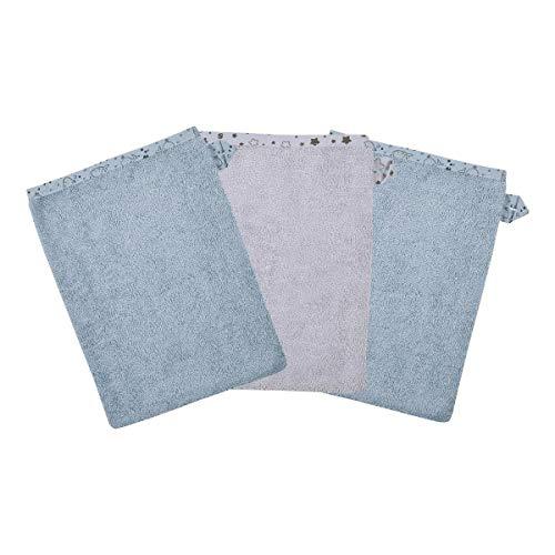 Wörner Lot de 3 gants de toilette 15 x 21 cm gant de toilette bébé, bleu