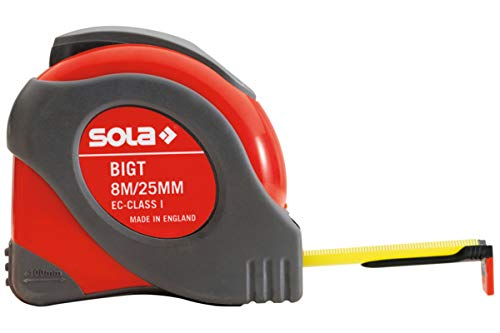 Sola BIG T Rollbandmaß 8 m - Messwerkzeug zum messen markieren - Blendfreies Arbeiten und leichtes Ablesen der Messergebnisse durch reflexionsfreie Lackierung