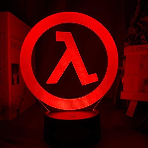 Solo 1 pieza Lámpara de noche con el logotipo de Half Life para la decoración de la sala de juegos Evento genial Premio de la tienda de juegos Cambio de color Luz de noche LED Regalo para él