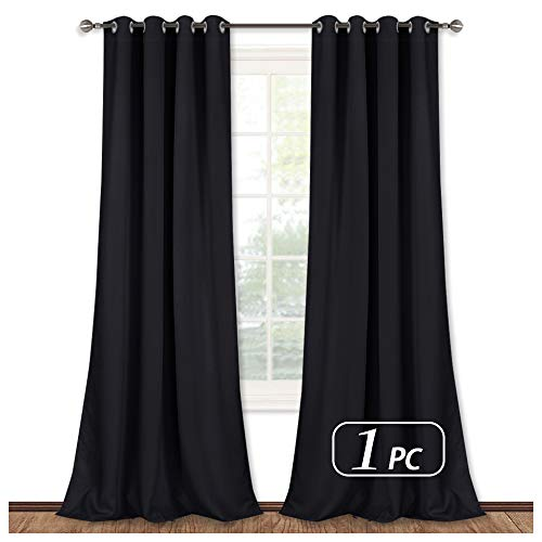 NICETOWN Black Out Curtain Panel - (52 inches by 108 inches, Black, Sold as 1 Panel) Home Decoration Thermal Insulated Solid Grommet Blackout Curtain/Drape for Hall/Dining Room