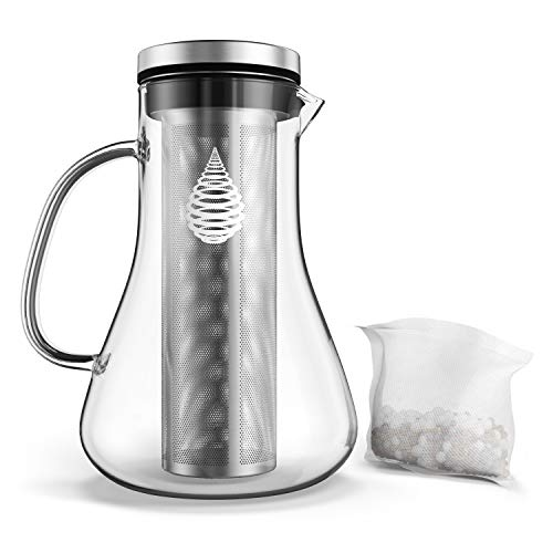 pH Replenish Glass Alkaline Water Pitcher - Alkaline Water Filter Pitcher by Invigorated Water - High pH Ionized Filtered Water Purifier - Includes Long Life Filter, 2019 Model, 34oz (1000ml)