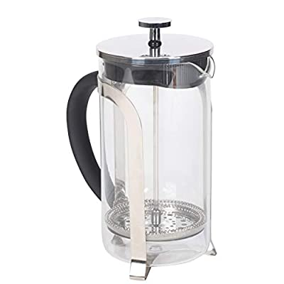Matte Black 1 Liter Large Glass Stainless Steel French Press Coffee and Loose Leaf TeaMaker