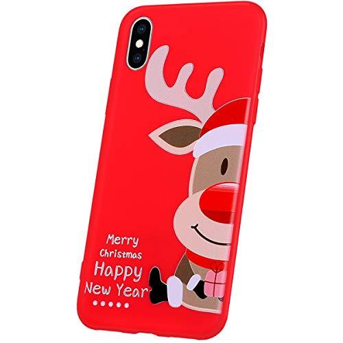JAWSEU Compatible avec iPhone XS Coque Motif de Noël,iPhone X Housse Silicone Rouge Noël Ultra Mince Souple TPU Téléphone Coque Case Bumper Antichoc pour iPhone X/XS,Noël