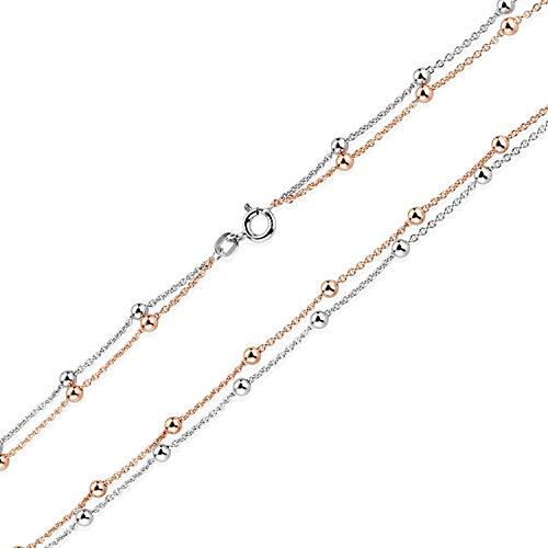 MATERIA Kugel Halskette Rosegold für Frauen - Damen Kette Silber 925 vergoldet rhodiniert 45cm in Etui CO-33-Rose