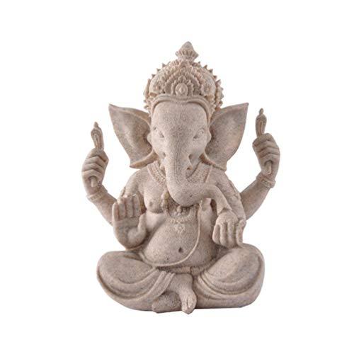 NUOBESTY Estatua de Ganesha Elefante Ganpati Dios Hindú Señor de La Prosperidad Fortuna Fengshui Ornamento Decoración del Salpicadero del Coche