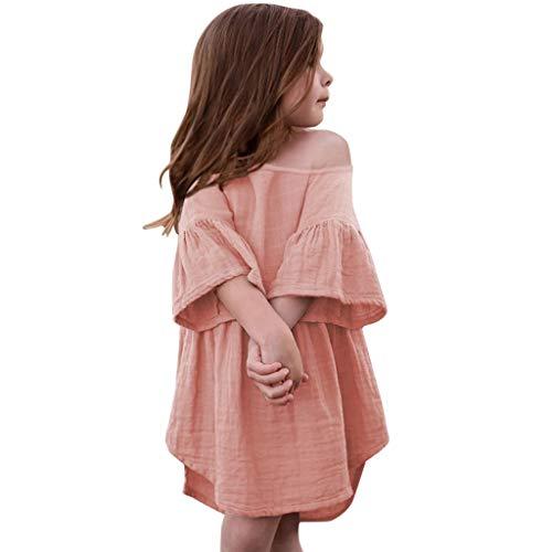 Livoral 2019 Surprise Kleinkind Baby Mädchen Off-The-Schulter-Trompete Ärmel gekräuselt Volltonfarbe Print Kleid Kleidung(Rosa,100) …